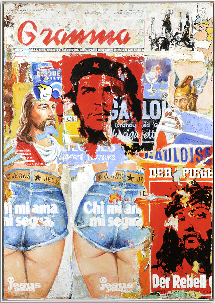 Mauer I, Jesus Jeans, Element +10, 2011, Verso signiert, Öl auf Leinwand, 240 x 160 cm