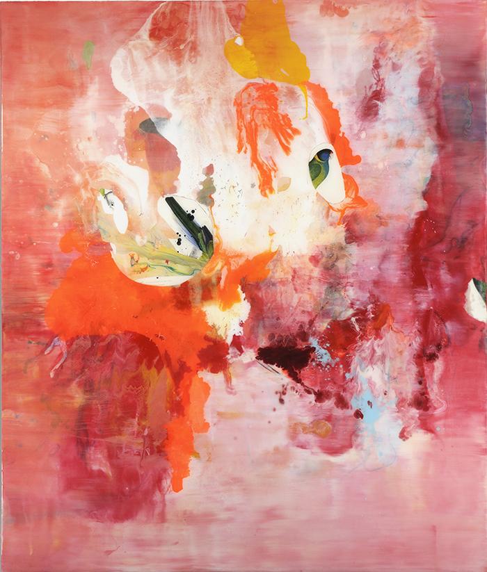 Parrotjam, 2011, Acryl, Collage, Lack und Harze auf Holz, 200 x 170 cm