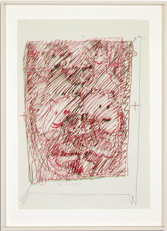 Löwenselbst 1, 1973, Flachdruck (Handoffset), zwei Farben auf getöntem Bütten, ein bis zwei Druckformen, ein bis drei Druckgänge, 64 x 45 cm
