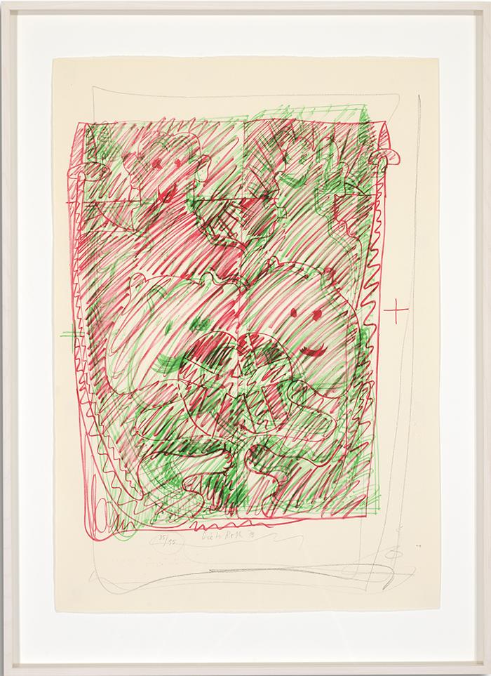 Löwenselbst 2, 1973, Flachdruck (Handoffset), zwei Farben auf getöntem Bütten, ein bis zwei Druckformen, ein bis drei Druckgänge, 64 x 45 cm