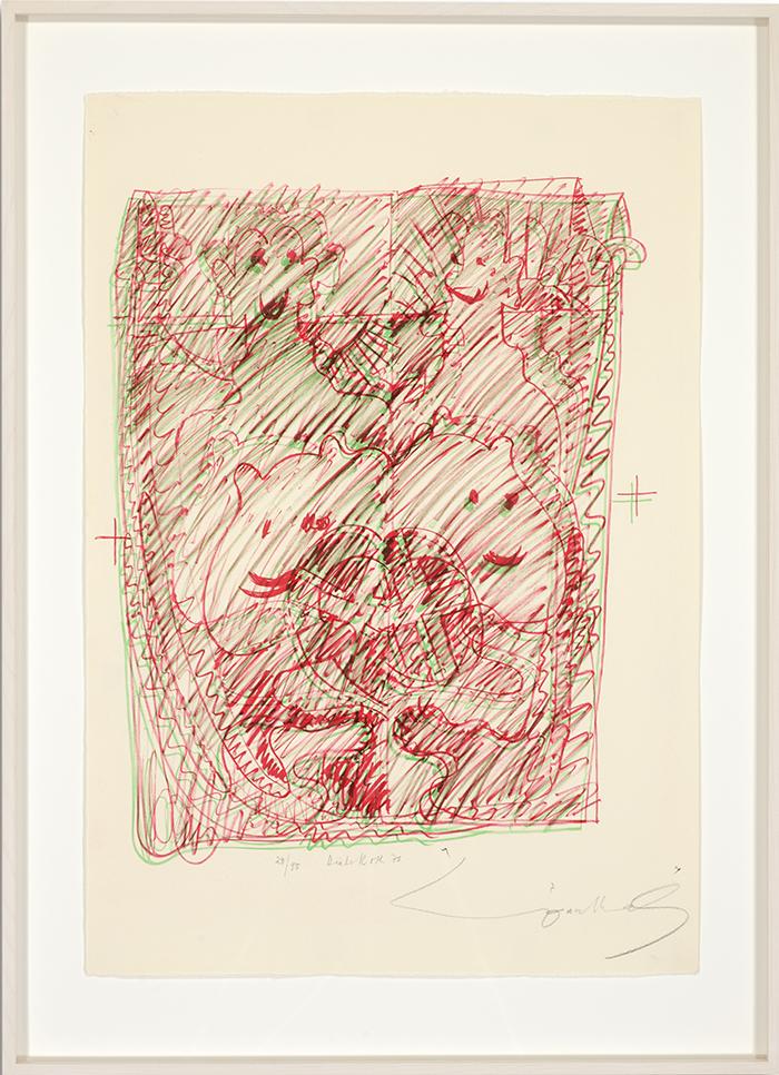 Löwenselbst 3, 1973, Flachdruck (Handoffset), zwei Farben auf getöntem Bütten, ein bis zwei Druckformen, ein bis drei Druckgänge, 64 x 45 cm
