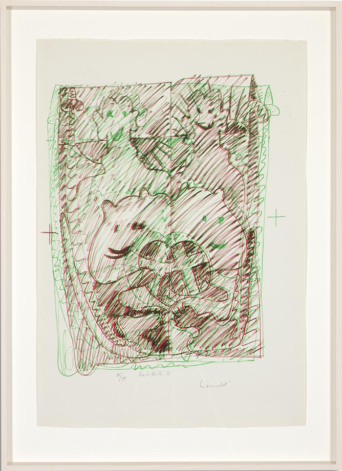 Löwenselbst 4, 1973, Flachdruck (Handoffset), zwei Farben auf getöntem Bütten, ein bis zwei Druckformen, ein bis drei Druckgänge, 64 x 45 cm