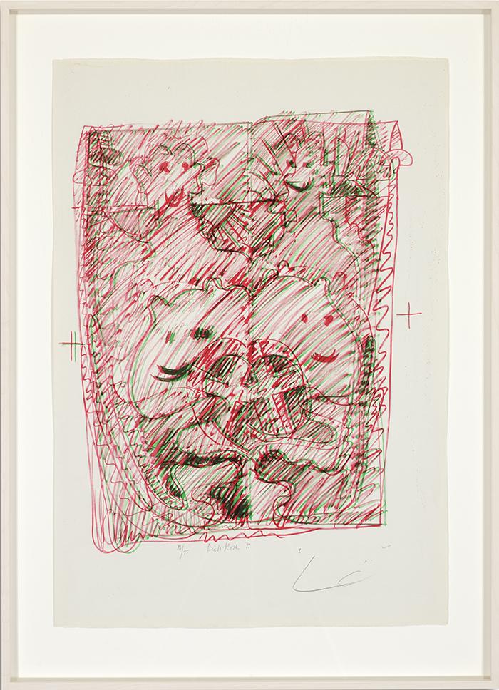 Löwenselbst 5, 1973, Flachdruck (Handoffset), zwei Farben auf getöntem Bütten, ein bis zwei Druckformen, ein bis drei Druckgänge, 64 x 45 cm