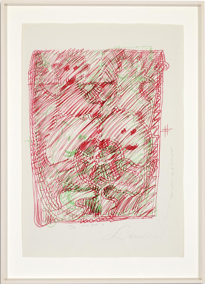 Löwenselbst 7, 1973, Flachdruck (Handoffset), zwei Farben auf getöntem Bütten, ein bis zwei Druckformen, ein bis drei Druckgänge, 64 x 45 cm