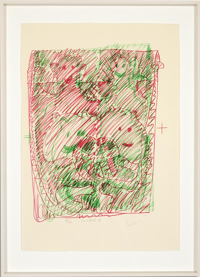 Löwenselbst 8, 1973, Flachdruck (Handoffset), zwei Farben auf getöntem Bütten, ein bis zwei Druckformen, ein bis drei Druckgänge, 64 x 45 cm