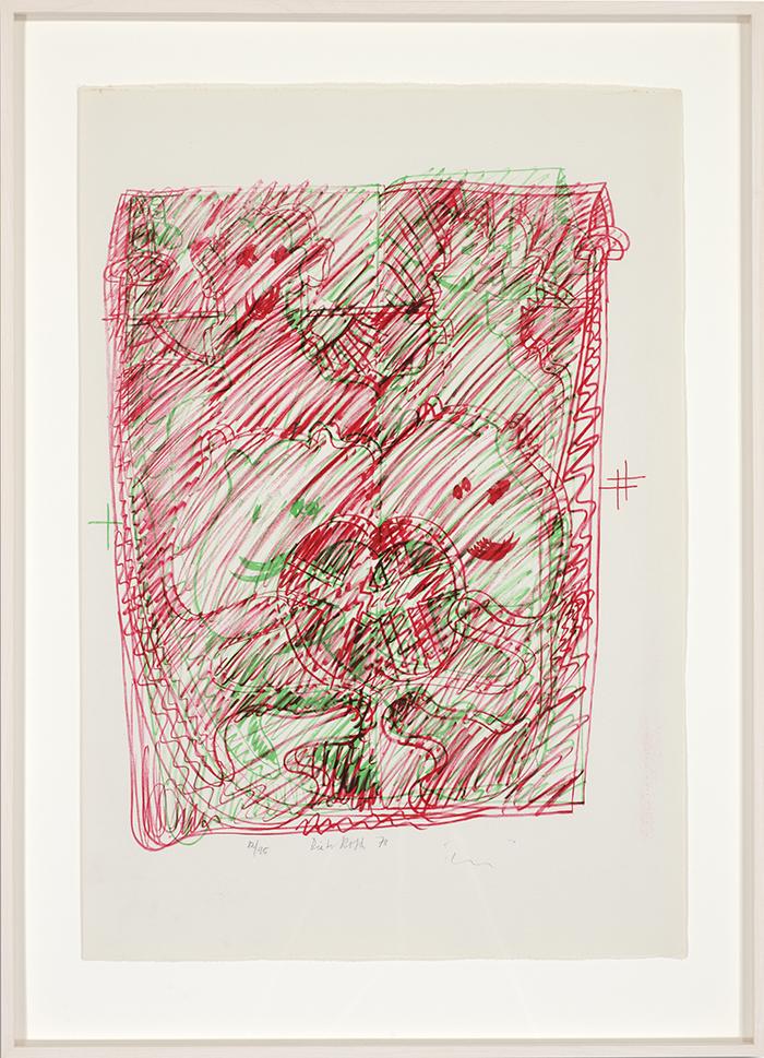 Löwenselbst 9, 1973, Flachdruck (Handoffset), zwei Farben auf getöntem Bütten, ein bis zwei Druckformen, ein bis drei Druckgänge, 64 x 45 cm