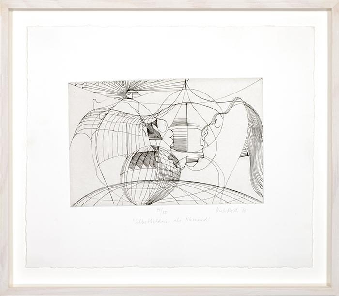 Selbstbildnis als Niemand, 1973, Tiefdruck (Stich) auf weisses Büttenpapier, 15,8 x 24,5 cm (Platte), 30,5 x 36,2 cm (Papierbogen)