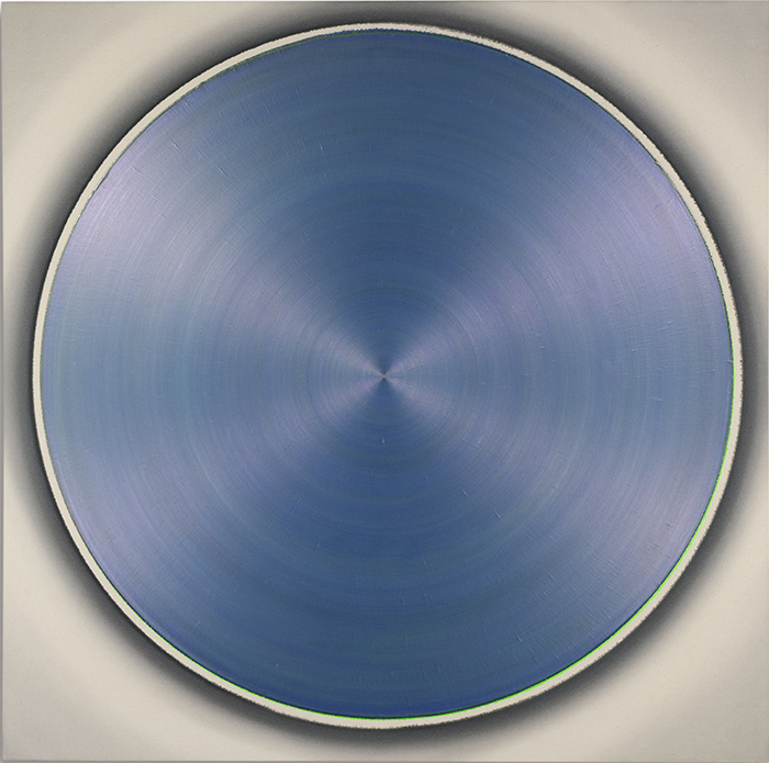 ZF Pale Silver Red Dance With Soft Silver Blue Green, 2011, teilpolarisiert, Acryl auf Leinwand, 130 x 130 cm