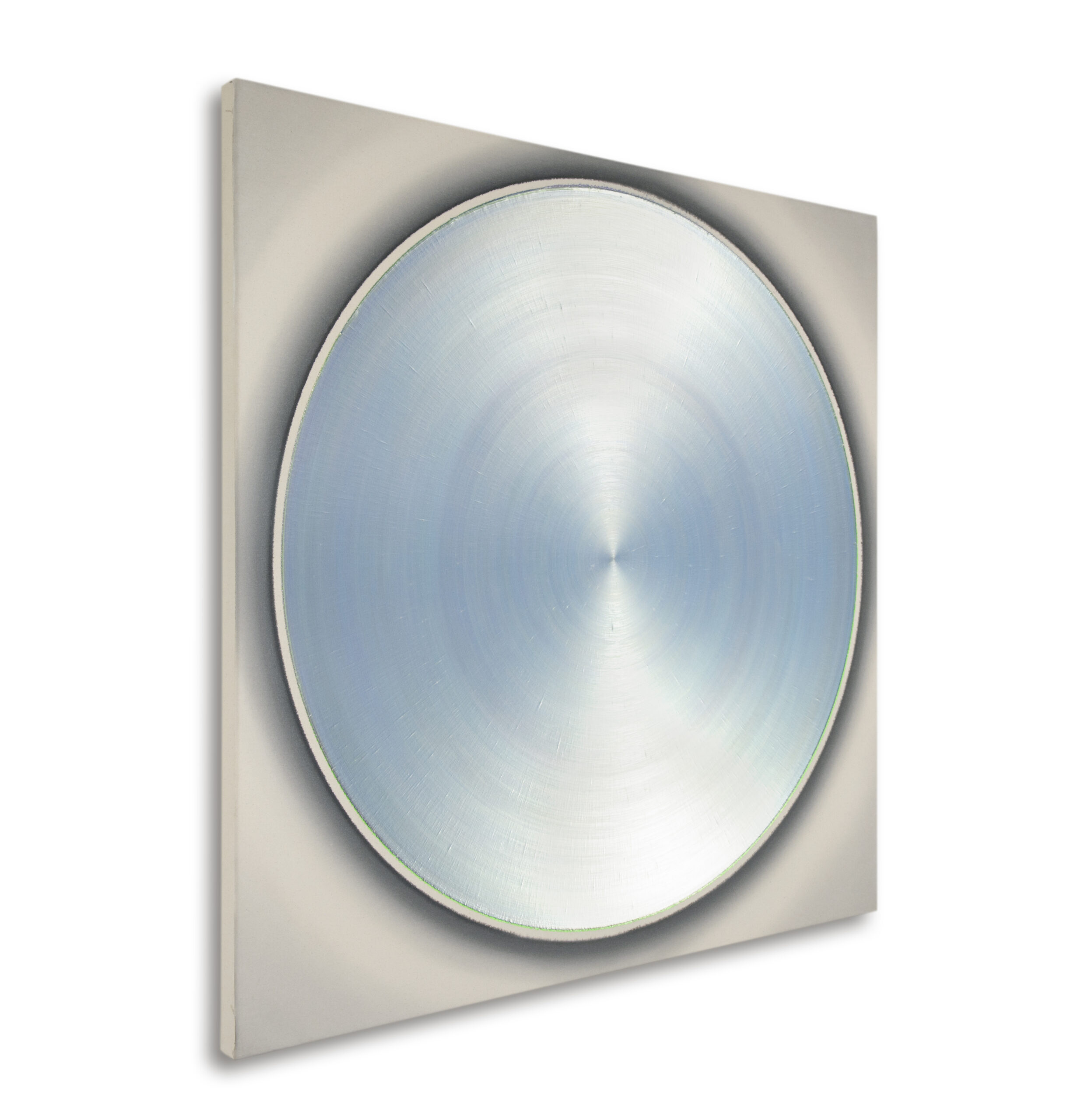 ZF Pale Silver Red Dance With Soft Silver Blue Green, 2011, teilpolarisiert, Acryl auf Leinwand, 130 x 130 cm, links