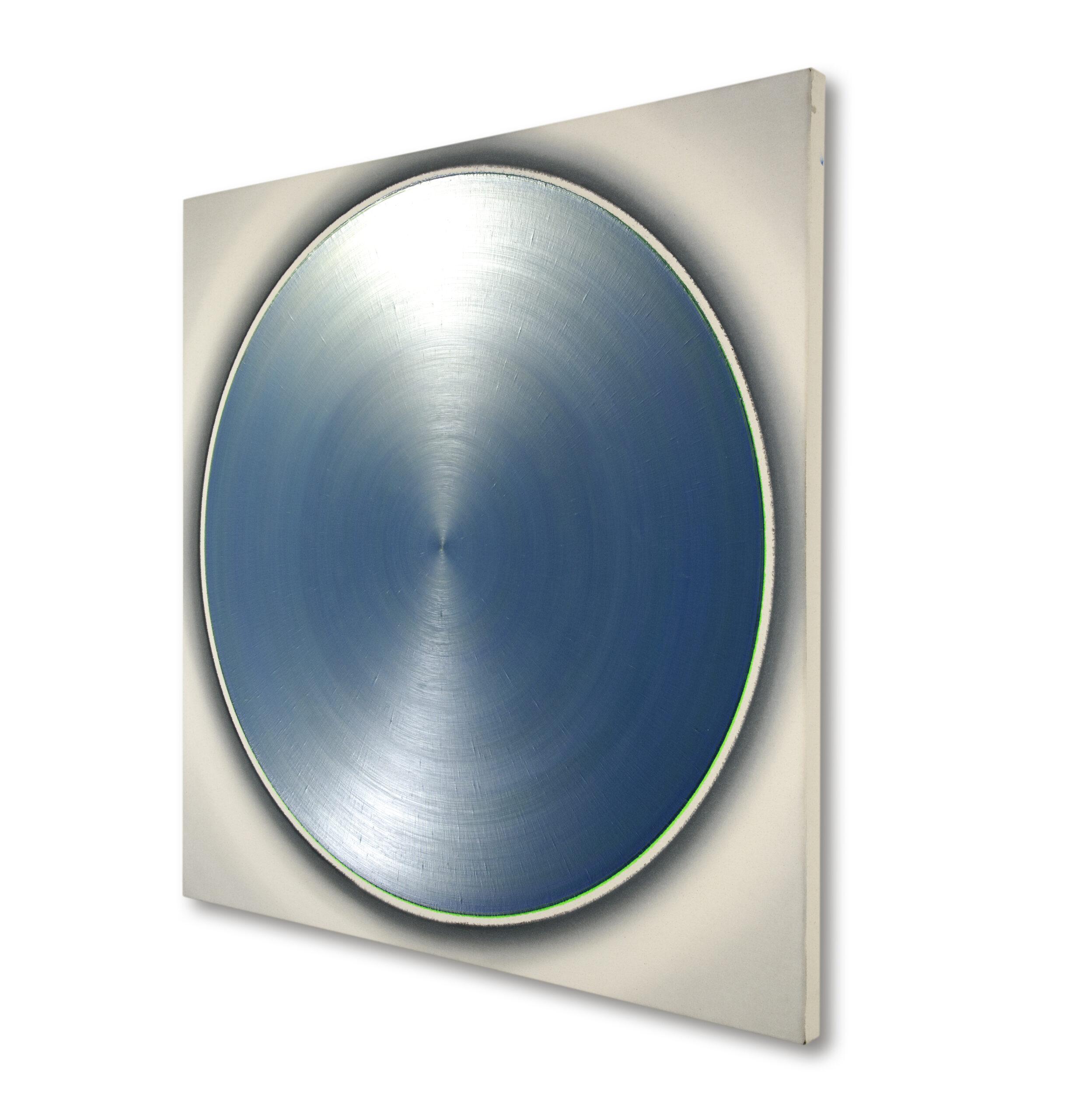 ZF Pale Silver Red Dance With Soft Silver Blue Green, 2011, teilpolarisiert, Acryl auf Leinwand, 130 x 130 cm, rechts