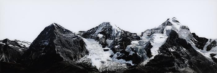 Eiger, Mönch, Jungfrau, Switzerland, 2011, verso signiert und nummeriert, Diasecverfahren, 75 x 220 cm, 5/5