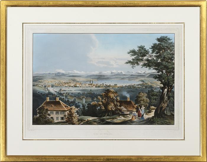 Vue de Zürich et des ses Environs, erschienen im Verlag Lemercier um 1840, H. Walter, Farblithographie, gerahmt in Echtgold 80 x 63 cm