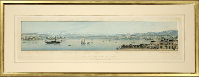 Panorama du Lac de Zürich, herausgegeben im Verlag H.F. Leuthold Zürich um 1850, Aquatinta Kupferstich, gezeichnet von Callon, gerahmt in Echtgold 112 x 44 cm