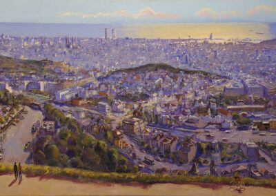 Barcelona panoramica, 2017, Öl auf Leinwand, 100 x 200 cm