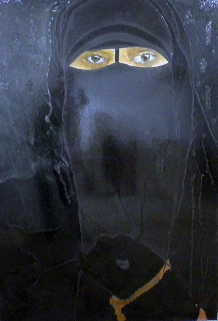 Black Burqa, 2011, Lack, Pigmente auf Holz, 122 x 172 cm
