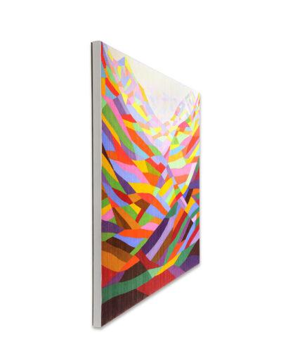 Das Glücksgefühl lässt sich noch steigern, 2011, Verso signiert, Acryl mit Pigment auf Zellulose auf Leinwand, 90 x 120 cm, links